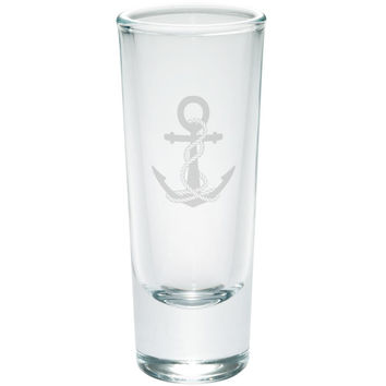 Anchor And Rope Nautical Etched Shot Glass Shooter