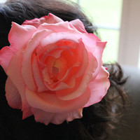 Large Pale Pink Rose Hair Clip