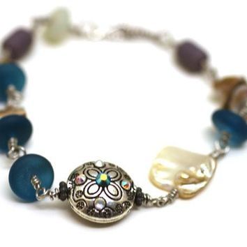 Turquoise Sea Glass Bracelet with Natural Pearl and Swavorksi Crystal Embellished Beads