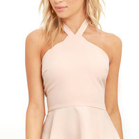 All Pepped Up Blush Peplum Top