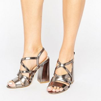 New Look Metallic Strappy Block Heeled Sandal at asos.com