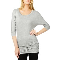 Stretchy 3/4 Dolman Sleeve Drape Top with Side Shirring (CLEARANCE) (CLEARANCE)