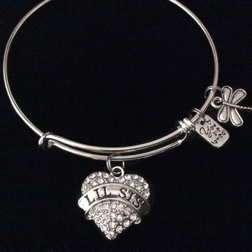 Lil Sis You Are Loved Expandable Charm Bracelet Silver Adjustable Bangle Little Sister Gift