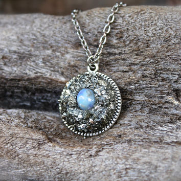 Natural Opal Necklace - Crushed Pyrite Jewelry - Smooth Opal Gemstone Jewelry - Boho Gypsy Necklace - Gemstone Jewelry - Raw Stone Necklace