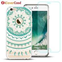 Phone Case for iPhone 6 6s Back Cover Coque Mandala Tempered Glass for iPhone 6 6s Plus Cover Case +Free Gift Screen Protector