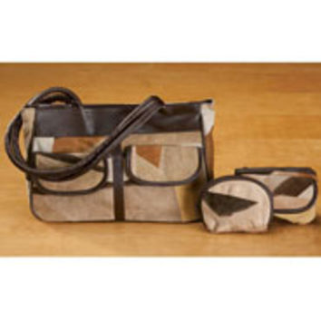 Suede Patchwork Handbag And Accessories