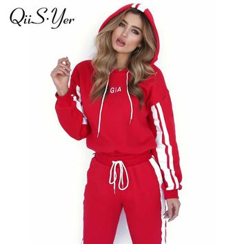 2 Piece red Hooded Hoodies Tracksuit Women Long Pant Brand Sweatsuit Fashion Casual Street Set 2018 Spring Loose Sweatshirt Suit