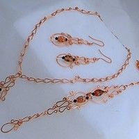 Handmade Filigree Copper Chain Orange/Tan Glass Beads 3 pc Set