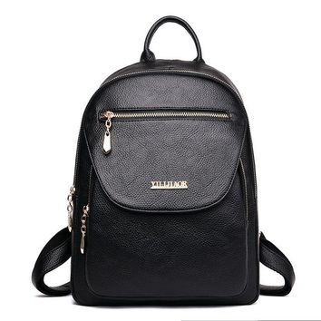School Backpack trendy 2018 New Softback Backpack Female PU Leather Backpack Vintage School Bags for Girls Back Pack Women Rucksack AT_54_4