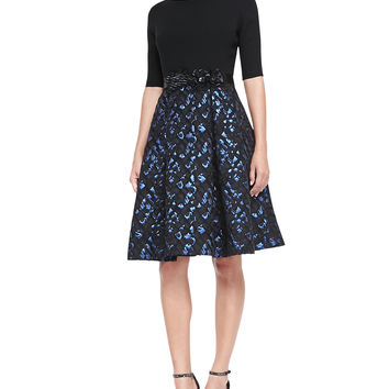 Women's 3/4-Sleeve Snake-Print Skirt Cocktail Dress - Rickie Freeman for Teri Jon - Sapphire