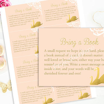 Pink Bring a book cards baby shower printable girl baby shower bring a book cards instant download digital diy
