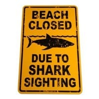 Shark Sighting Aluminum Sign in Yellow SF92