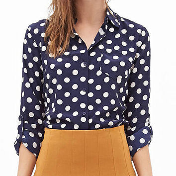 Blue Polka Dots Print Long Sleeves Collared Chiffon Shirt