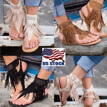 USA Women Rhinestones Tassel Hollow Buckle Flats Flip-flops Sandals Shoes 4.5-9