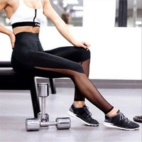Brand New Sports Pants Female 2016 Fashion Mesh Patchwork Leggings Women Sports Fitness Pants Sexy Gym Legging Joggers Women