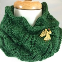 Neck Warmer Green Hand Knit Shield Pattern Dark Sage Caron Simply Soft