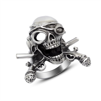 Jewelry Shiny New Arrival Gift Stylish Punk Skull Men Korean Strong Character Titanium Ring [6526793155]