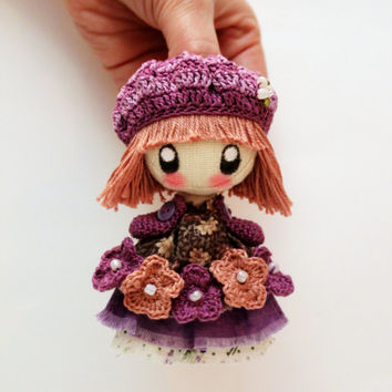 Textile brooch beige and purple Pauline brooch doll jewerly for girl