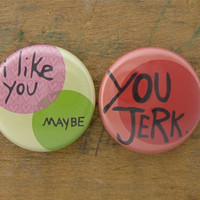 I Like You MaybeYou Jerk  Set of 2 by marmarsuperstar on Etsy