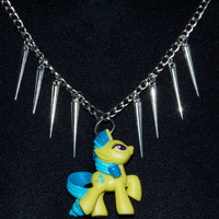 My Little Pony Blue and Yellow Silver Spike Necklace by DeoDesign