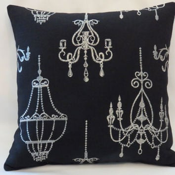 "Silver Chandelier Throw Pillow 16 x 16"" on Black Linen  with Metallic Brocade Embroidery Ready to ship (A)"