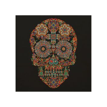 Flower Sugar Skull Wood Wall Art