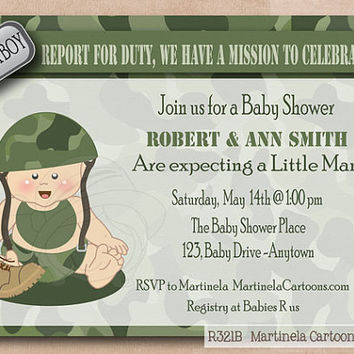 Green Camo baby shower invitation with army baby, coed babyshower invite, digital printable by Martinela Cartoons