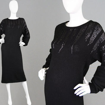Vintage 80s Silk Knit Dress Beaded Dress Batwing Sweater Dress Sequin Wool Dress Pinup Dress Dolman Sleeve Silk Blend Angora Dress LBD Dress