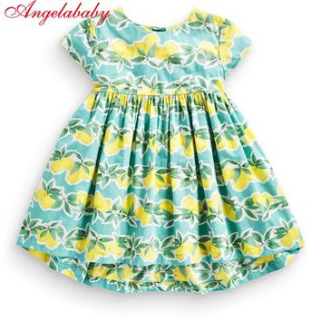 New fashion kids girls clothing summer floral dress baby girl's printed fruits zipper dresses children cotton clothing hot sale