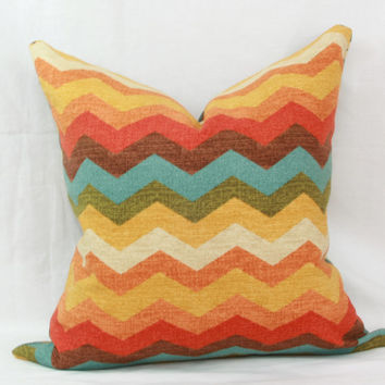 "Orange, yellow & turquoise chevron decorative throw pillow cover. 18"" x 18"". accent pillow. toss pillow."