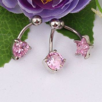 NEW! BUY 2 GET 1 FREE PIERCE ME Lux PINK Crystal Belly Ring sweet Heart Star, Round, Pink Zircon belly rings
