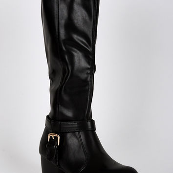 Ankle T-Strap Detail Calf Boots