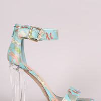 Delicious Oriental Embroidered Chunky Perspex Heel