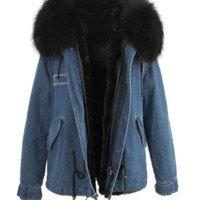 Denim Parka Jacket Black Fur