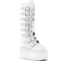 White Buckled Knee High Platform Boots