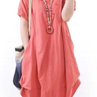 Red Short Sleeve A-Line Midi Dress with Buttons