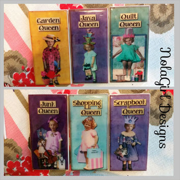 Queen of everything, Ceramic Tile miniature wall hangings, Garden Queen, Quilt Queen, Ladies Gifts, Vintage ART, 3x6 inch Queenisms, Kitch