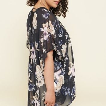 Plus Black Floral Print High Low Kimono