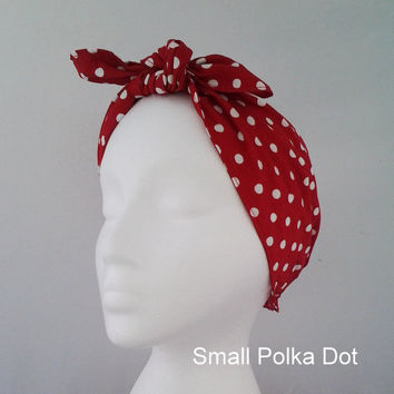 Retro Vintage Rosie the Riveter rockabilly small red polka dot pinup headband bandana dolly bow