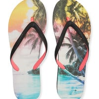 Aeropostale  Tropical Dream Flip-Flop - Black, 6