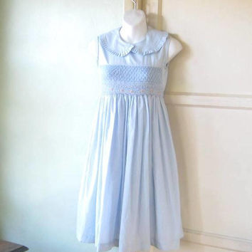 Adorable Light Blue Vintage Baby Doll Dress w/ Shirred Peter Pan Collar; Girl's Size 12 or Women's XXS; U.S. Shipping Included