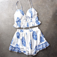 festival shop - boho print two piece set