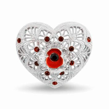 1.2 Inch Filigree and Poppy and Heart Brooch with Red Enamel and Crystals White Gold Tone