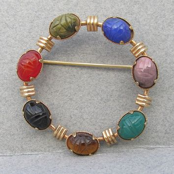 Signed AMCO Genuine Stone Scarabs 14k Gold Filled Vintage Circle Pin