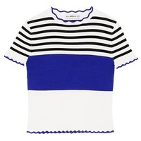 STRIPED SWEATER WITH SCALLOPED TRIMS