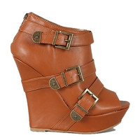 Dreamer Peep Toe Platform Wedges - Chestnut