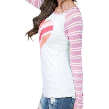 GAMISOTE Women Valentines Gift T Shirt Casual Striped Raglan Printed Long Sleeve Tunic Tops, A Pink, Small