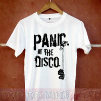 panic at the disco shirt panic at the disco tshirt panic at the disco t shirt panic at the disco shirt white and black shirt unisex necklace
