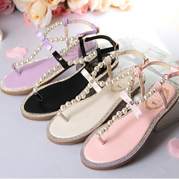 Pearl Bow Wedding Sandals