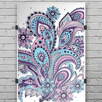 Subtle Pink and Blue Vector Sprout - Ultra Rich Poster Print